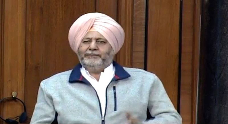 New Delhi: Congress MP Jasbir Singh Gill speaks in the Lok Sabha during the Budget Session of Parliament, in New Delhi on Feb 3, 2020. (Photo: IANS)