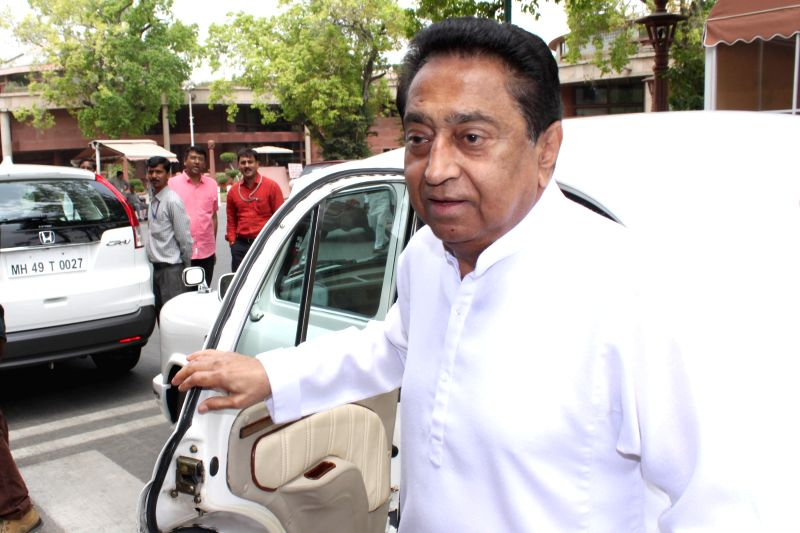 Congress MP Kamal Nath arrives at the Parliament in New Delhi, on April 21, 2015. - Kamal Nath