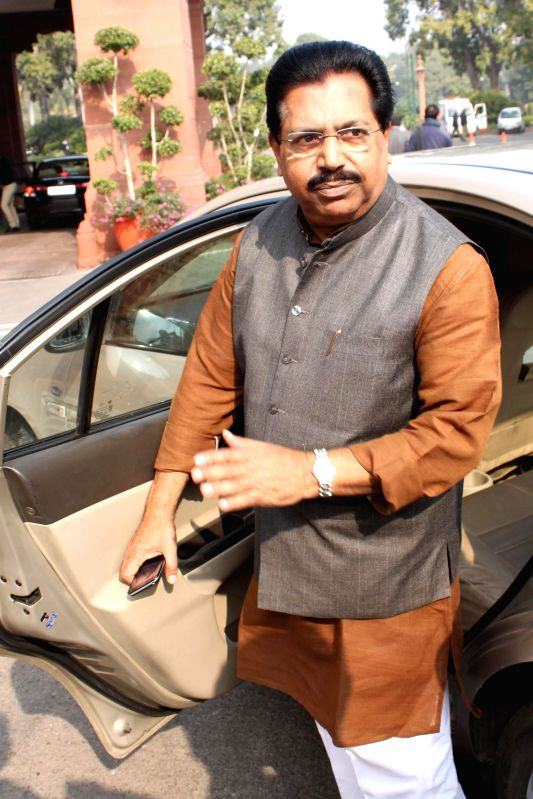 Congress MP P C Chacko at the Parliament premises in New Delhi, on Dec 16, 2014.