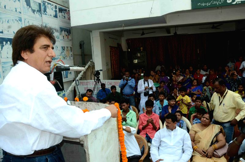 Congress MP Raj Babbar during a programme in Patna on April 3, 2015.