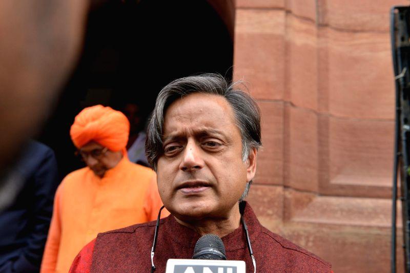 New Delhi: Congress MP Shashi Tharoor at Parliament in New Delhi on Dec 12, 2018.