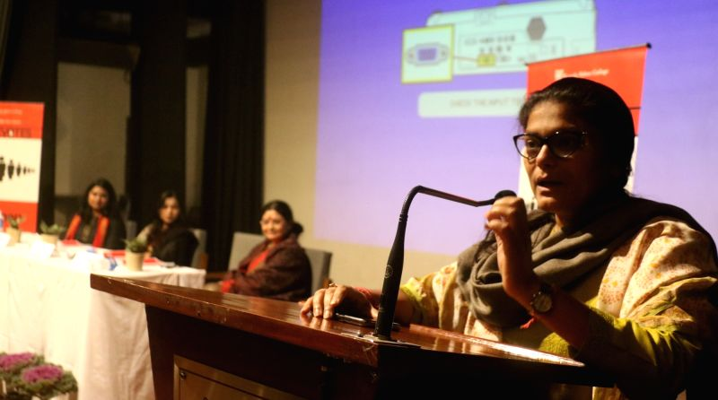 New Delhi: Congress MP Sushmita Dev addresses at a panel discussion on 'Women Leadership - Challenges and Opportunities' at Kamla Nehru Girls College in New Delhi, on Jan 30, 2019. (Photo: IANS)