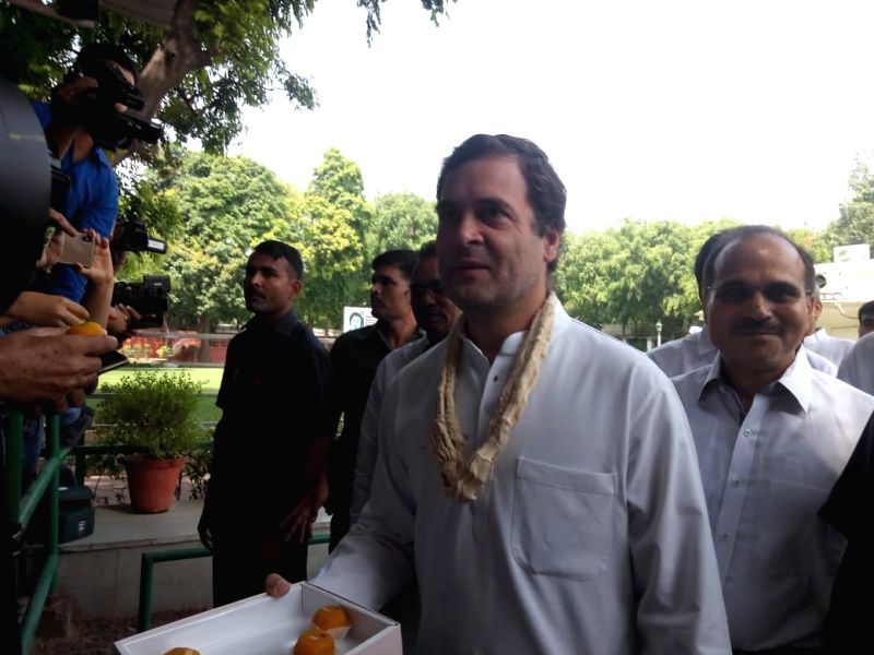 Congress President Rahul Gandhi arrives to meet party workers and leaders on his birthday at party head quarters in New Delhi