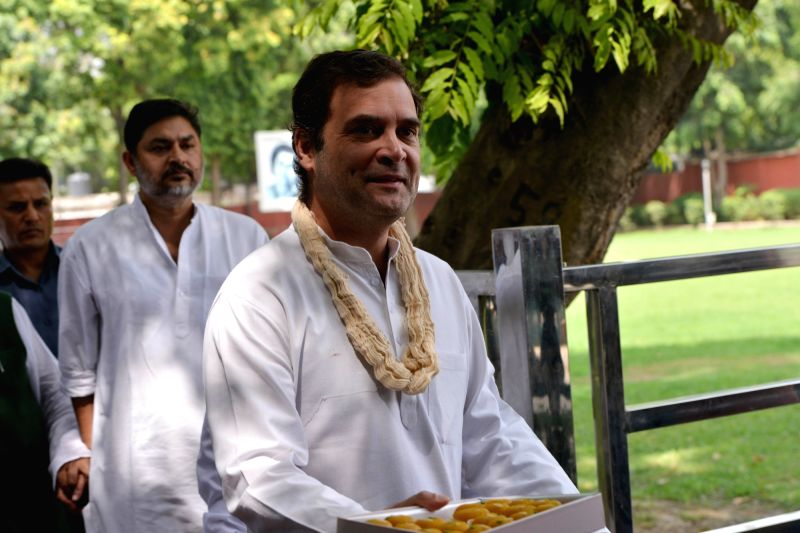 New Delhi: Congress President Rahul Gandhi during his birthday celebrations at the party's headquarters, in New Delhi on June 19, 2019.