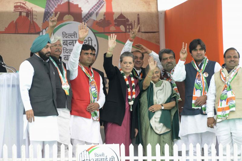 New Delhi : Congress president Sonia Gandhi addressing an election rally in New Delhi on Feb. 1, 2015.