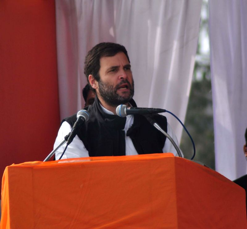 Congress vice presdient Rahul Gandhi addresses during a rally for the upcoming Delhi Assembly Election at Jahangir Puri in New Delhi on Feb. 4, 2015.