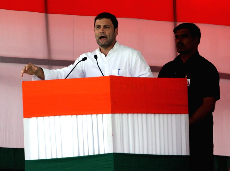 Congress vice-president Rahul Gandhi addresses during party's Kisan Rally at Ramlila Maidan in New Delhi, on April 19, 2015. - Rahul Gandhi