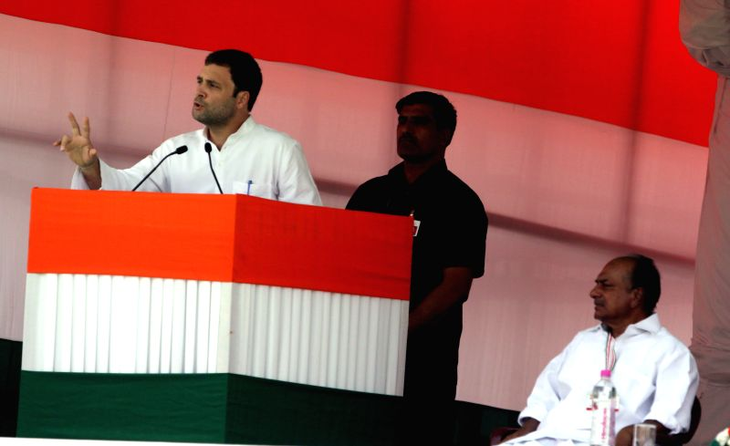 Congress vice-president Rahul Gandhi addresses during party's Kisan Rally at Ramlila Maidan in New Delhi, on April 19, 2015. Also seen Congress leader A K Antony. - Rahul Gandhi