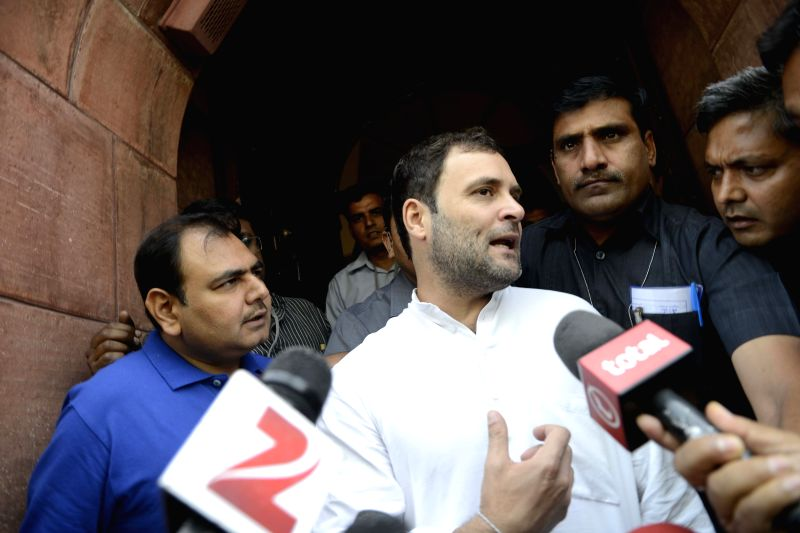 Congress vice president Rahul Gandhi talks to press at the Parliament in New Delhi, on April 22, 2015.