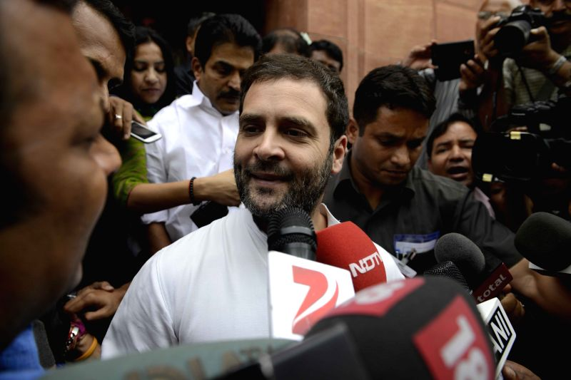 Congress vice president Rahul Gandhi talks to media at the Parliament house in New Delhi, on April 29, 2015. - Rahul Gandhi