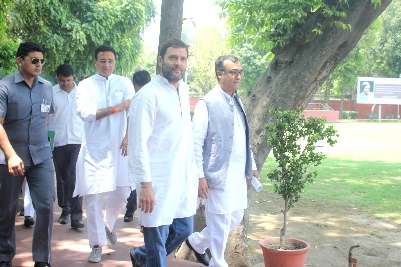 Congress vice president Rahul Gandhi during a meeting with home-buyers at party headquarter in New Delhi on May 2, 2015.