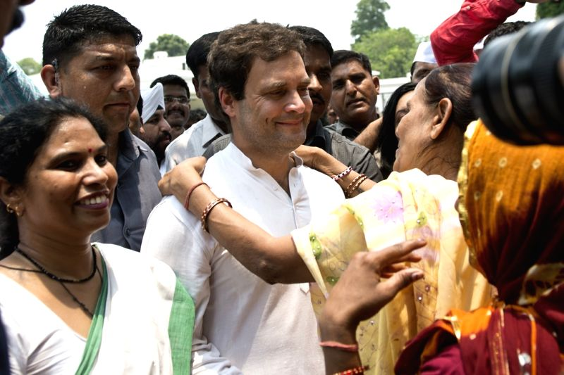 Congress vice president Rahul Gandhi being greeted by party workers and supporters on his 45th birthday celebrations in New Delhi on June 19, 2015. - Rahul Gandhi