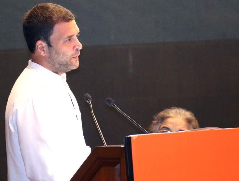 :New Delhi: Congress Vice President Rahul Gandhi addresses during a programme organised to celebrate the birth annivrsary of Pt. Jawaharlal Nehru at Nehru Bhawan in New Delhi on Nov. 7, 2015. ...