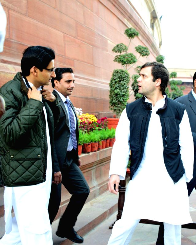 Congress vice president Rahul Gandhi at the Parliament House in New Delhi, on Dec 5, 2014. - Rahul Gandhi