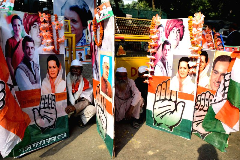 Congress workers celebrate Congress chief Sonia Gandhi's 68th birthday in New Delhi, on Dec 9, 2014.