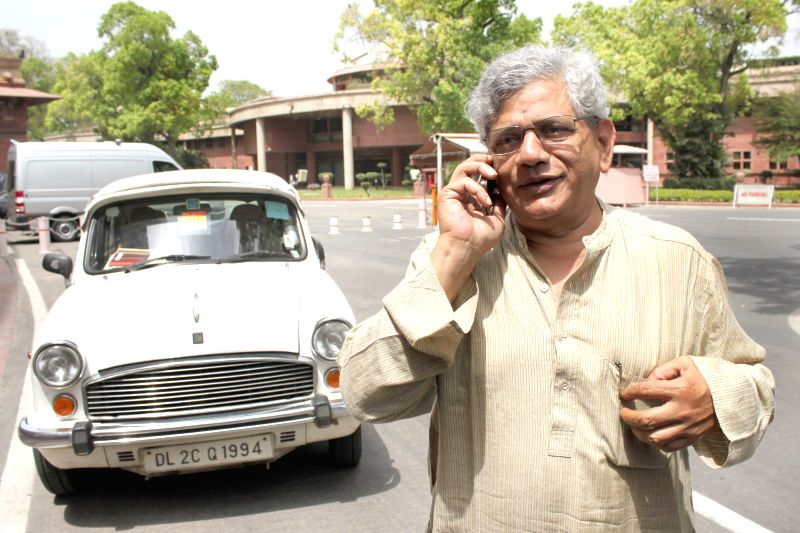 CPI-M General Secretary Sitaram Yechury at Parliament house on April 21, 2015. - Sitaram Yechury