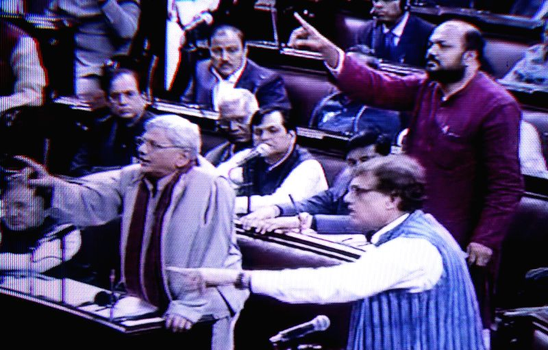 CPI (M) leader and MP Sitaram Yechury and Trinamool parliamentary party leader Derek O'Brien during the budget session of the Parliament in New Delhi on March 3, 2015. - Sitaram Yechury