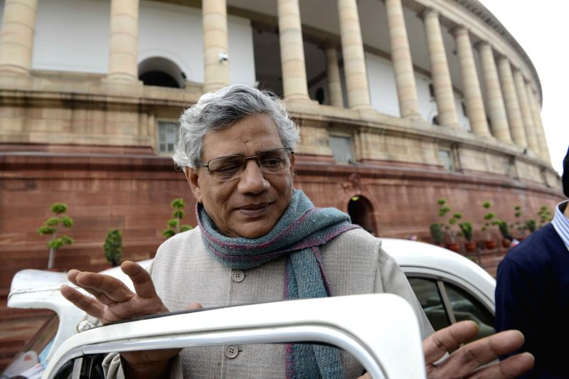 CPI (M) leader and MP Sitaram Yechury at the Parliament during the budget session in New Delhi, on March 2, 2015. - Sitaram Yechury