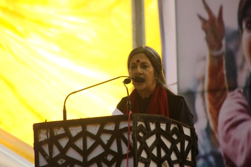 CPI(M) leader Brinda Karat addresses during a demonstration to condemn 2012 Nirbhaya gangrape the  at Jantar Mantar in New Delhi on Dec 16, 2014.