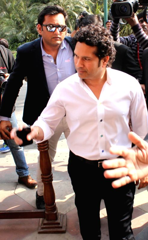 Cricket legend and Rajya Sabha member Sachin Tendulkar at the Parliament premises in New Delhi, on Nov 26, 2014. - Sachin Tendulkar