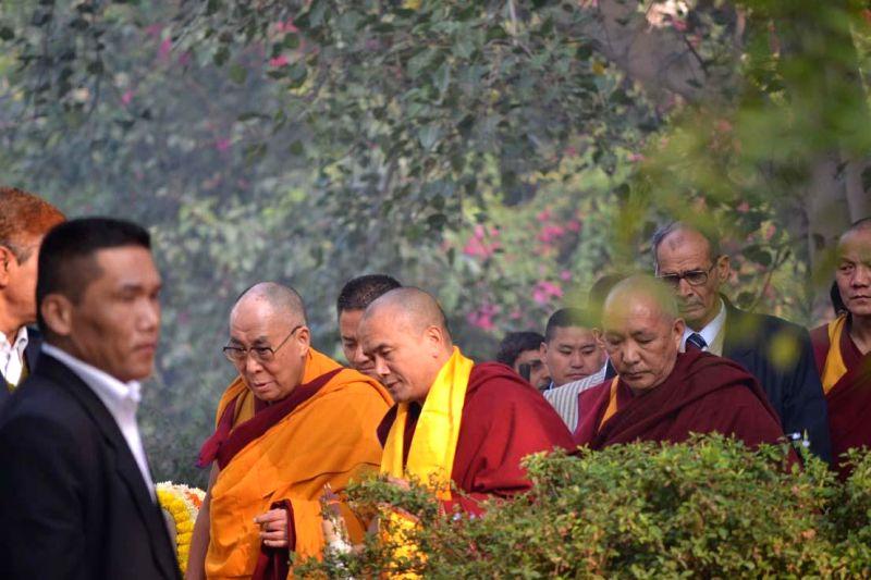 Dalai Lama the spiritual head of Tibetan Buddhists during his visit to Buddha Jayanti Park on Gaden Ngachoe (Lama Tsongkhapa Day) in New Delhi, on Dec 16, 2014.