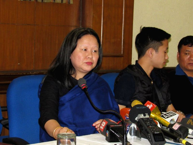 New Delhi: Dangwimsai Pul, wife of Late Arunachal Pradesh Chief Minister Kalikho Pul's addresses a press conference in New Delhi on Feb 17, 2017. - Kalikho P