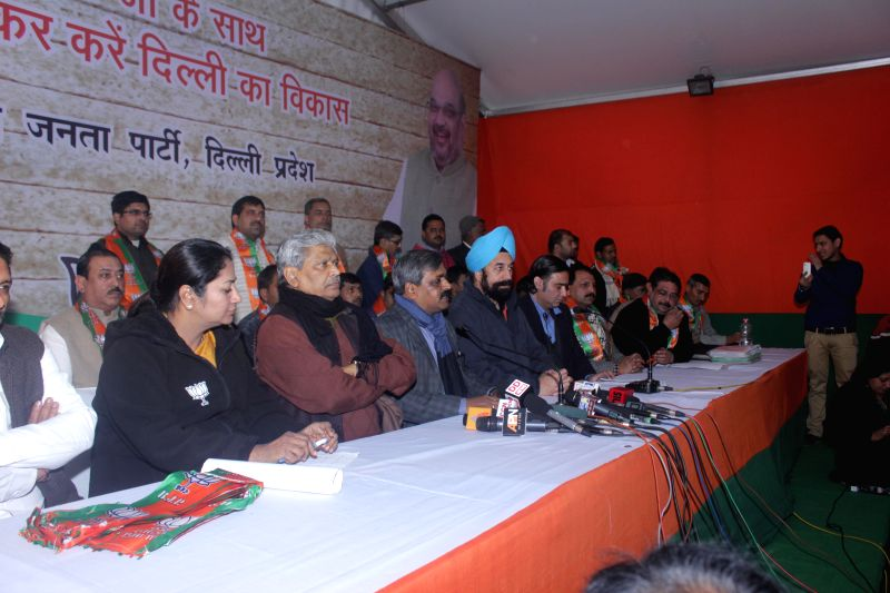 Delhi BJP chief Satish Upadhyay addresses a press conference at BJP party office in New Delhi on Jan. 3, 2014.