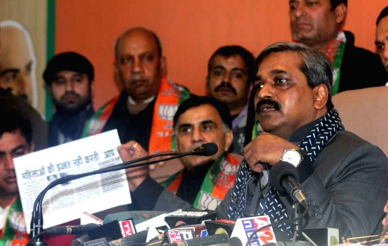 Delhi BJP chief Satish Upadhyay during a press conference in New Delhi, on Jan 8, 2015. - Satish Upadhyay