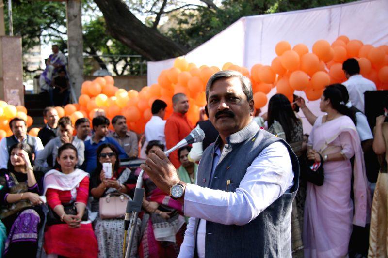 Delhi BJP chief Satish Upadhyay during a party programme at Hanuman Mandir in New Delhi on March 21, 2015.