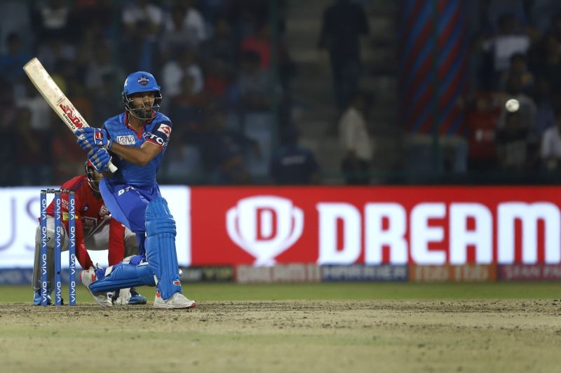 New Delhi: Delhi Capitals' Shikhar Dhawan in action during the 37th match of IPL 2019 between Kings XI Punjab and Delhi Capitals at Feroz Shah Kotla in New Delhi, on April 20, 2019. (Photo: Surjeet Yadav/IANS)