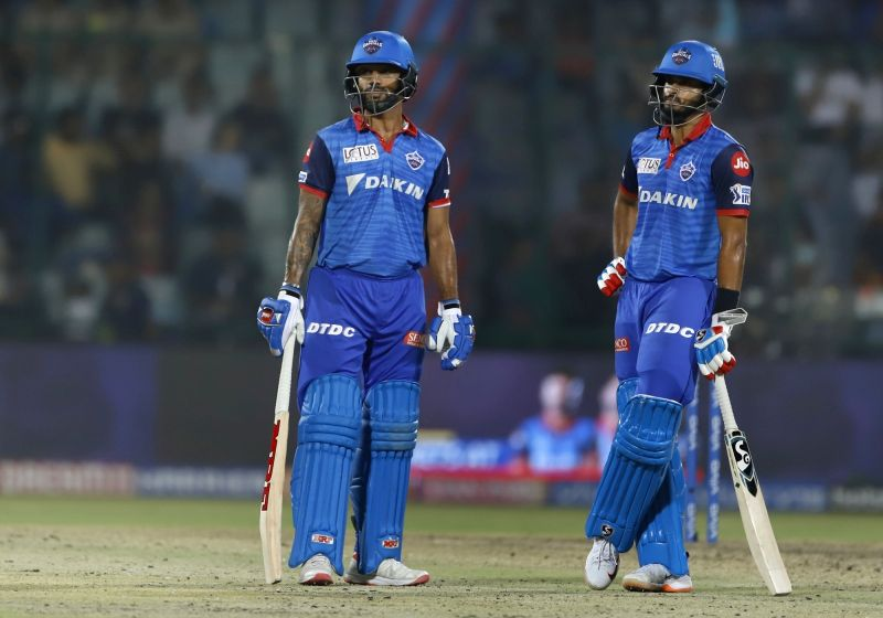 New Delhi: Delhi Capitals' skipper Shreyas Iyer and Shikhar Dhawan during the 37th match of IPL 2019 between Kings XI Punjab and Delhi Capitals at Feroz Shah Kotla in New Delhi, on April 20, 2019. (Photo: Surjeet Yadav/IANS)