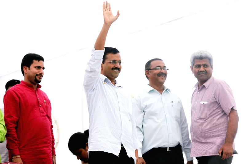 Delhi Chief Minister and AAP leader Arvind Kejriwal and others during a May Day programme organised at Shalimar Bagh of Delhi on May 1, 2015. - Arvind Kejriwal