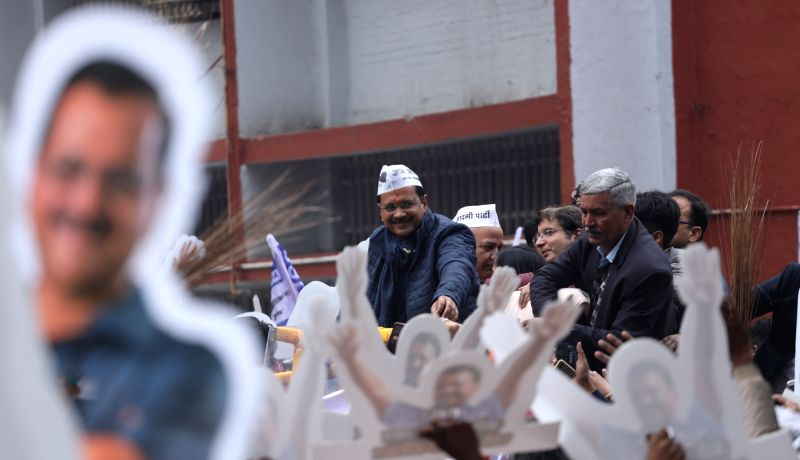 New Delhi: Delhi Chief Minister and AAP national convenor Arvind Kejriwal holds a party roadshow before filing his nomination papers from the New Delhi constituency for the February 8 Assembly elections, on Jan 20, 2020. However, at the end of the ro