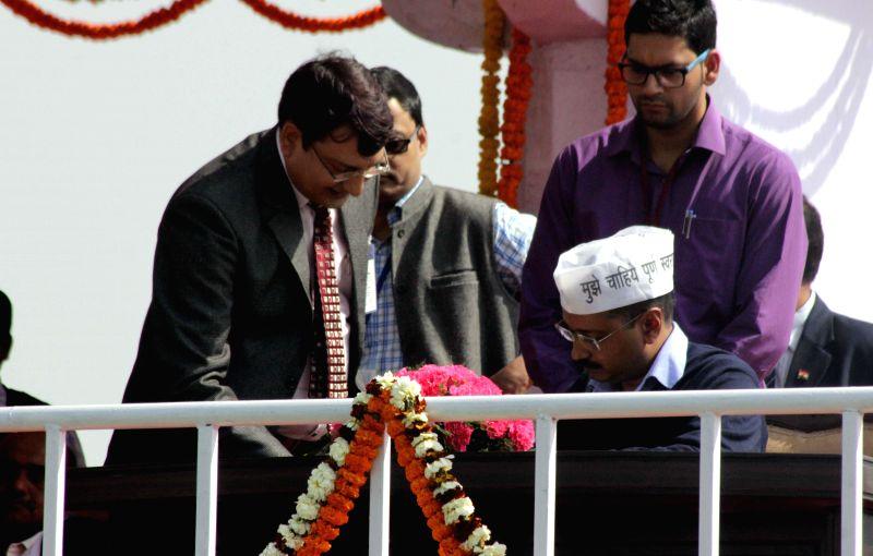 Delhi Chief Minister Arvind Kejriwal during his swearing-in ceremony at Ramlila Maidan in New Delhi, on Feb 14, 2015. - Arvind Kejriwal