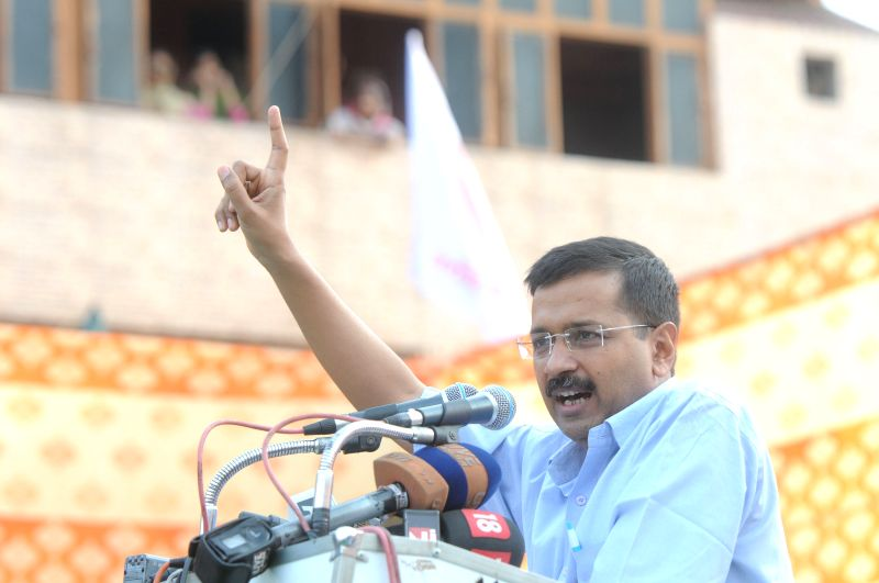 Delhi Chief Minister Arvind Kejriwal addresses during the Adhikar rally at Karawal Nagar, in East Delhi on April 12, 2015. - Arvind Kejriwal