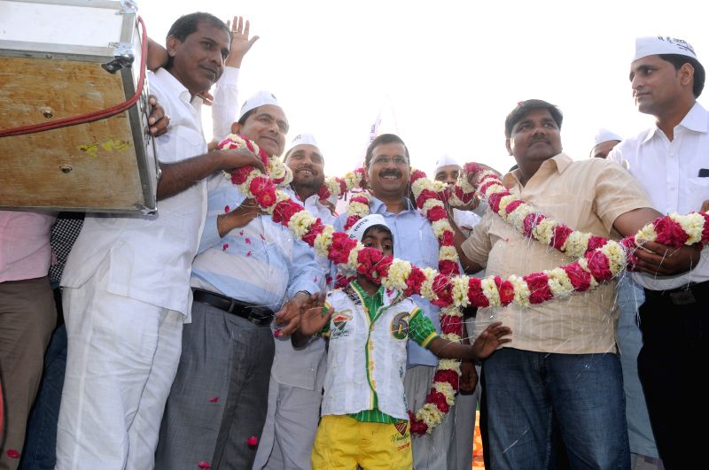 Delhi Chief Minister Arvind Kejriwal during Adhikar rally at Karawal Nagar, in East Delhi on April 12, 2015. - Arvind Kejriwal