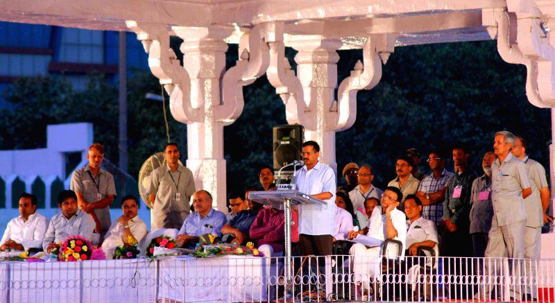 Delhi Chief Minister Arvind Kejriwal addresses a gathering of sanitation workers at Ramlila Maidan in New Delhi, on June 8, 2015. - Arvind Kejriwal