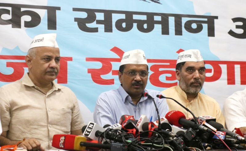 New Delhi: Delhi Chief Minister Arvind Kejriwal accompanied by Deputy Chief Minister Manish Sisodia and Cabinet Minister Gopal Rai, addresses a press conference after releasing AAP's election manifesto for the 2019 Lok Sabha elections, in New Delhi o