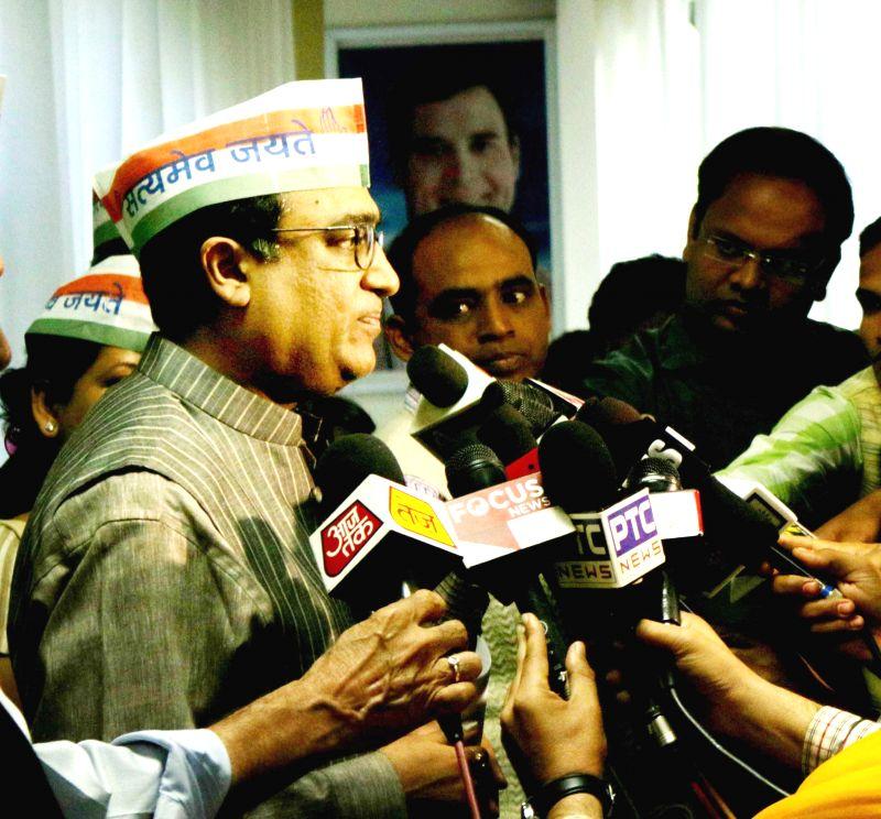 Delhi Congress chief Ajay Maken addresses a press conference  in New Delhi, on March 9, 2015.
