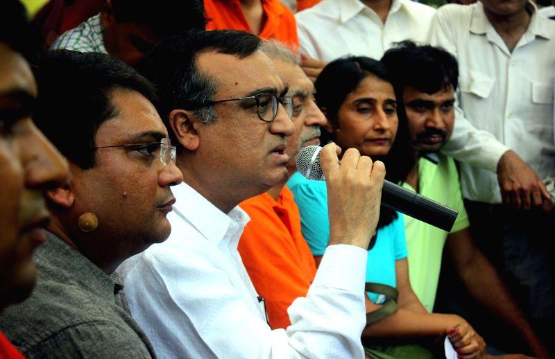 Delhi Congress chief Ajay Maken during a demonstration at Jantar Mantar in New Delhi, on May 4, 2015.