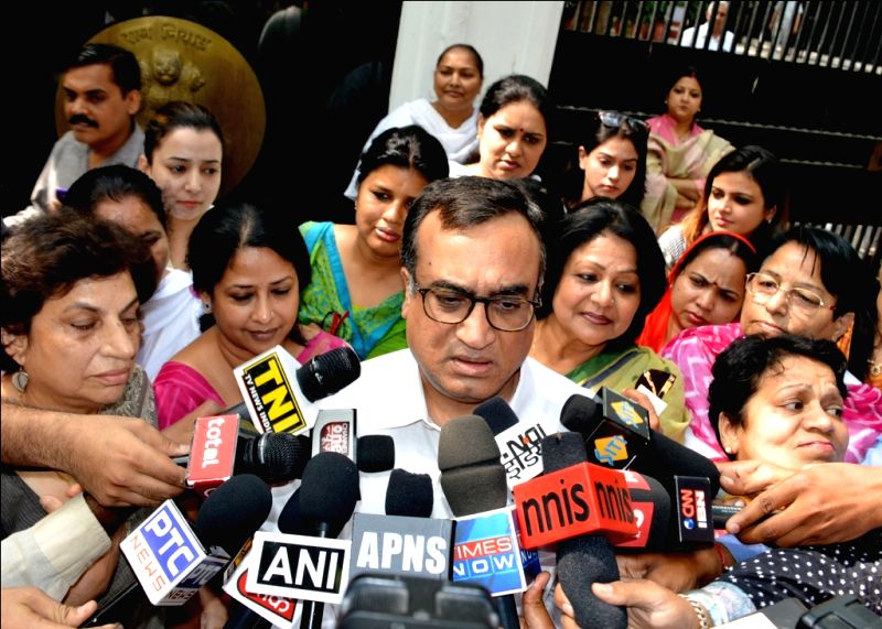 Delhi Congress chief Ajay Maken talks to media after meeting Delhi Lt. Governor Najeeb Jung in New Delhi, on April 29, 2015.