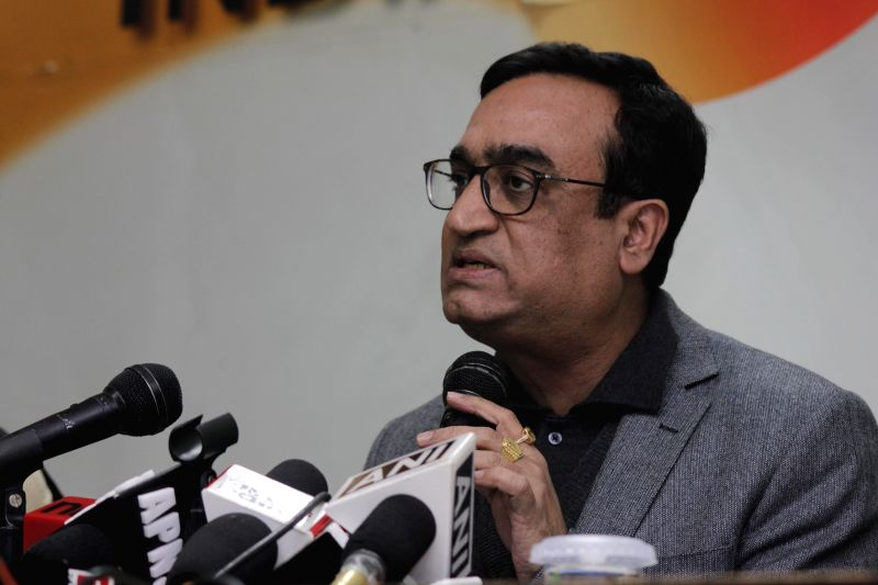 Delhi Congress chief Arvinder Singh Lovely and senior leader Ajay Maken during a press conference at Congress party office in New Delhi on Jan. 29, 2015. - Arvinder Singh Lovely