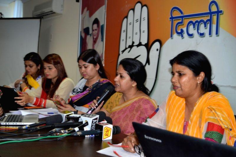 Delhi Congress spokesperson Sharmistha Mukherjee addressees a press conference in New Delhi on April 12, 2015. - Sharmistha Mukherjee