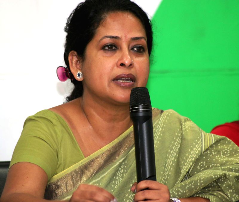 Delhi Congress spokesperson Sharmistha Mukherjee addresses a press conference in New Delhi, on April 27, 2015. - Sharmistha Mukherjee