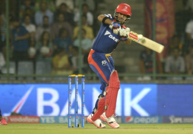 Delhi Daredevils batsman J P Duminy in action during an IPL-2015 match between Delhi Daredevils and Kolkata Knight Riders at Feroz Shah Kotla stadium, in New Delhi, on April 20, 2015. - J P Duminy and Feroz Shah Kotla