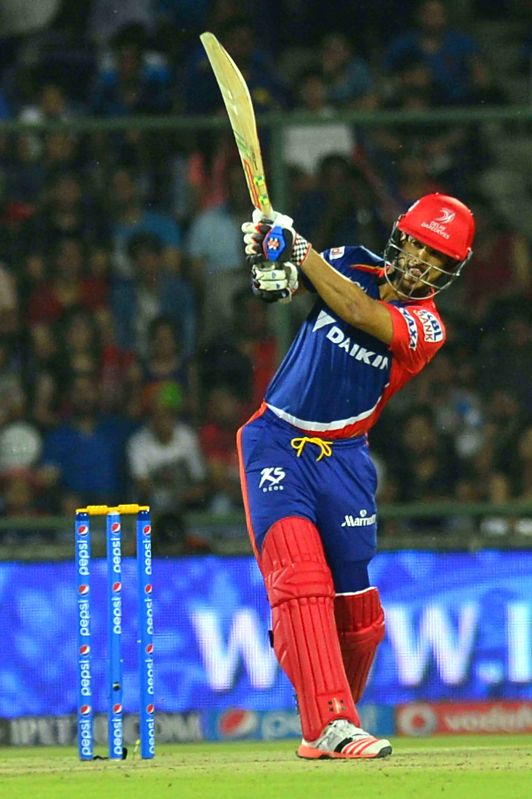 Delhi Daredevils batsman JP Duminy in action during an IPL-2015 match between Delhi Daredevils and Mumbai Indians at Feroz Shah Kotla stadium, in New Delhi, on April 23, 2015. - J and Feroz Shah Kotla