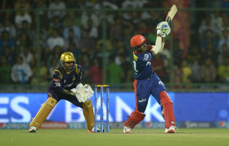 Delhi Daredevils batsman Shreyas Iyer in action during an IPL-2015 match between Delhi Daredevils and Kolkata Knight Riders at Feroz Shah Kotla stadium, in New Delhi, on April 20, 2015. - Shreyas Iyer and Feroz Shah Kotla