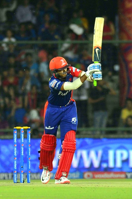 Delhi Daredevils batsman Shreyas Iyer in action during an IPL-2015 match between Delhi Daredevils and Mumbai Indians at Feroz Shah Kotla stadium, in New Delhi, on April 23, 2015. - Shreyas Iyer and Feroz Shah Kotla