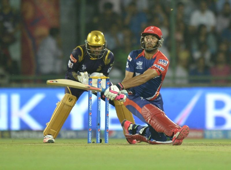 Delhi Daredevils batsman Yuvraj Singh in action during an IPL-2015 match between Delhi Daredevils and Kolkata Knight Riders at Feroz Shah Kotla stadium, in New Delhi, on April 20, 2015. - Yuvraj Singh and Feroz Shah Kotla
