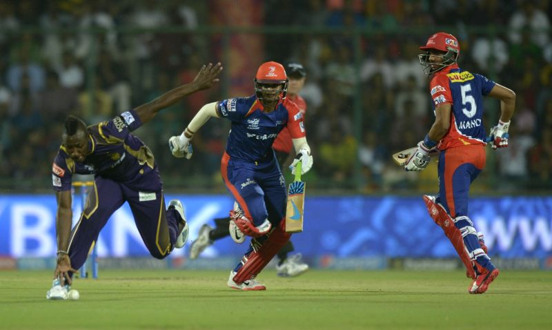 Delhi Daredevils batsmen Shreyas Iyer and Manoj Tiwary in action during an IPL-2015 match between Delhi Daredevils and Kolkata Knight Riders at Feroz Shah Kotla stadium, in New Delhi, on ... - Feroz Shah Kotla